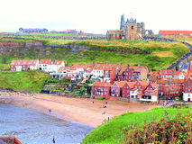 Gamla Whitby, North Yorkshire, England. Arkivfoto