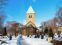 Gamle Aker Kirke - The oldest Church in Oslo Royalty Free Stock Image