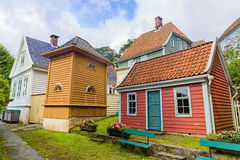 Gamle Bergen Museum. Norway. BERGEN, NORWAY - AUGUST 10, 2016: Gamle Bergen Museum. The open-air Old Bergen Museum is a reconstructed small town consisting of Royalty Free Stock Photo