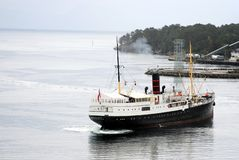 Gamle Rogaland leaving Leirvik harbour royalty free stock images