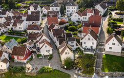 Gamle Stavanger. Nearly all the houses are white and they vary in age from less than 100 to about 300 years. The houses are lived in and most are privately owned Royalty Free Stock Photo