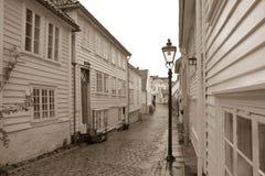 Gamle Stavanger Sepia. White houses in Gamle Stavanger, Norway Royalty Free Stock Image