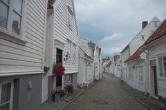 Gamle Stavanger. White houses in Gamle Stavanger in Norway Stock Photos
