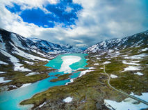 Gamle Strynefjellsvegen. Scenic aerial view of Gamle Strynefjellsvegen mountain pass in Norway Royalty Free Stock Image