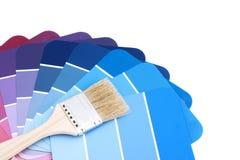 Gamma di colori blu con la spazzola Fotografia Stock Libera da Diritti