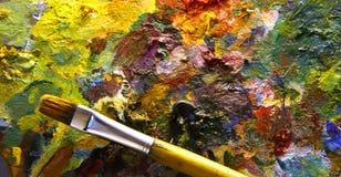 Gamma di colori con il pennello Fotografia Stock Libera da Diritti