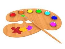 Gamma di colori con le vernici e la spazzola colorate Immagini Stock Libere da Diritti