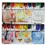 Gamma di colori dell'acquerello isolata su priorità bassa bianca Immagini Stock