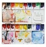 Gamma di colori dell'acquerello isolata su priorità bassa bianca Fotografie Stock