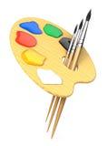 Gamma di colori dell'artista con le spazzole royalty illustrazione gratis