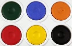 Gamma di colori della vernice del Watercolour Fotografie Stock Libere da Diritti