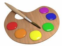 Gamma di colori e spazzola Fotografia Stock