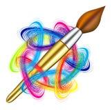Gamma di colori e spazzola dell'artista di vettore Fotografia Stock Libera da Diritti