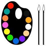 Gamma di colori e spazzole Fotografia Stock Libera da Diritti