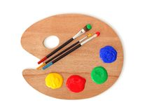 Gamma di colori e spazzole dell'artista Immagini Stock