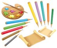 Gamma di colori, pastelli e documento Immagini Stock