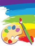Gamma di colori, pennello e tela di canapa Fotografia Stock Libera da Diritti