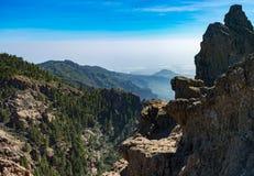 Gamma di montagne, vista da Pico de las Nieves, Gran Canaria, Spagna Immagine Stock