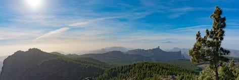 Gamma di montagne, vista da Pico de las Nieves, Gran Canaria, Spagna Fotografie Stock Libere da Diritti