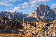 Gamma dopo il tramonto, alpi di Tofana della dolomia Fotografia Stock Libera da Diritti
