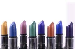 Gamma moderna di colore del rossetto di trucco Fotografia Stock Libera da Diritti