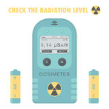 Gamma Radiation Personal Dosimeter with batteries. Check the radiation level. Royalty Free Stock Images