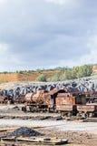Gammal ångalokomotiv som överges i den Rio Tinto minen Royaltyfria Bilder