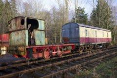 Gammal övergiven ångamotor för drev järnväg vagn Fotografering för Bildbyråer