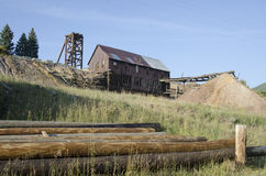 Gammal övergiven guld- min som lokaliseras i Victor Colorado Arkivfoto
