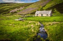 Gammal övergiven stuga vid en sorlström i Skottland Royaltyfria Bilder