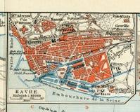 Gammal översikt av 1890, året med planet av den franska staden av Le Havre Royaltyfri Bild