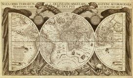 Gammal översikt av världen som skrivs ut i 1630 fotografering för bildbyråer