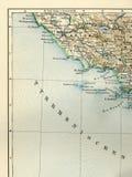 Gammal översikt från den geografiska kartboken 1890 med ett fragment av Apenninesen, italiensk halvö Centrala Italien det Tyrrhen Arkivfoton