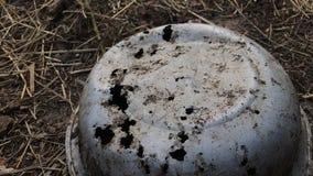 Gammal aluminiumbunke Korroderat till hålen Lögner som är uppochnervända på denbrände jorden stock video