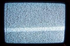 Gammal analog TV med statisk elektricitet arkivbild