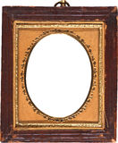 Gammal antik fotoram med guld klippt Oval Fotografering för Bildbyråer