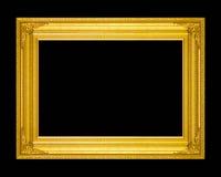 Gammal antik guld- ram som isoleras på en svart bakgrund Arkivbilder
