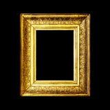 Gammal antik guld- ram som isoleras på svart bakgrund Royaltyfria Bilder
