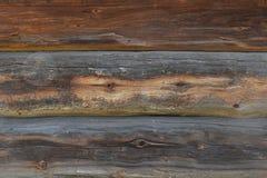 Gammal antik omålad träjournalväggtextur Arkivfoto