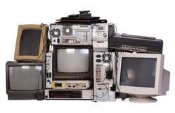 Gammal, använd och föråldrad elektronisk utrustning arkivbilder