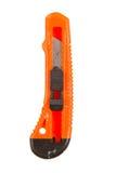 Gammal använd orange stanley kniv Royaltyfri Foto