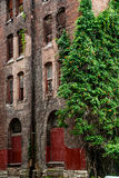 Gammal arkitektur för tegelstenbyggnad royaltyfri bild