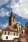 Gammal arkitektur i Sibiu Arkivbild
