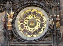 Gammal astronomisk klocka, Prague, Tjeckien, Europa Arkivbilder