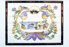 Gammal azulejosbild Forntida keramisk tegelplatta Arkivbilder