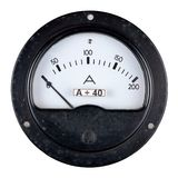 Gammal bakelitefallamperemeter Arkivfoto