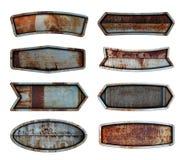 Gammal bakgrund för textur för platta för stålmetalltecken royaltyfria foton