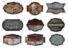 Gammal bakgrund för textur för platta för stålmetalltecken arkivbilder