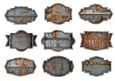 Gammal bakgrund för textur för platta för stålmetalltecken arkivfoto