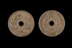 Gammal belgare tjugofem Centimes mynt arkivfoto